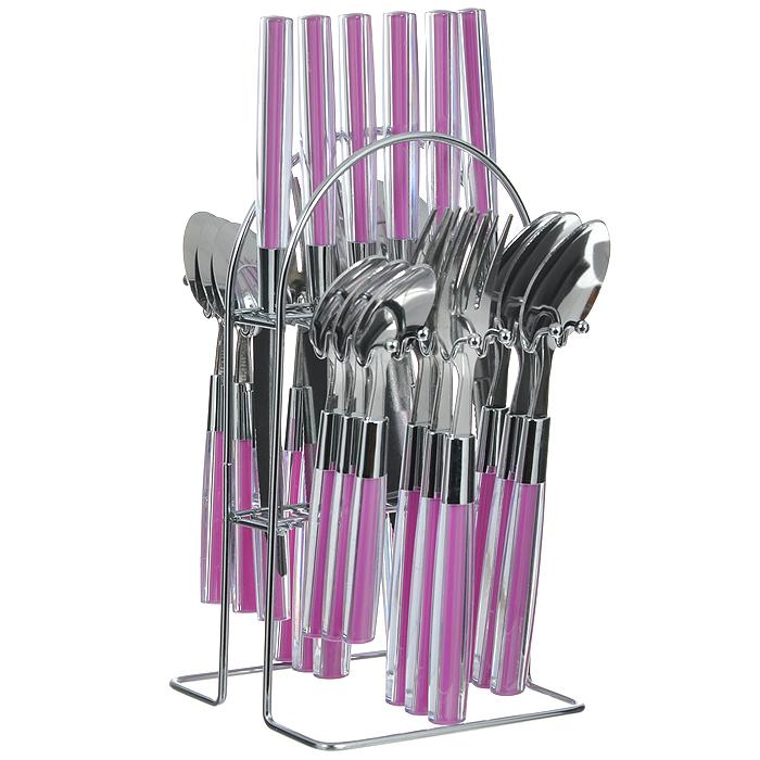 Набор столовых приборов Mayer&Boch, цвет: розовый, 25 предметов. MN22492-1MN22492-1Набор столовых приборов Mayer & Boch выполнен из прочной полированной нержавеющей стали и высококачественного пластика. В набор входят 6 столовых ложек, 6 вилок, 6 чайных ложек и 6 ножей. Приборы имеют прозрачные пластиковые ручки с вставками розового цвета. Прекрасное сочетание яркого дизайна и удобства использования предметов набора придется по душе каждому. Изделия расположены на металлической подставке, что удобно для хранения набора прямо на столе или столешнице. Набор столовых приборов Mayer & Boch подойдет как для ежедневного использования, так и для торжественных случаев. Характеристики:Материал: нержавеющая сталь, пластик. Цвет: розовый. Длина ножа: 22,5 см. Длина столовой ложки: 20 см. Длина вилки: 21 см. Длина чайной ложки: 16,5 см. Размер подставки (Д х Ш х В): 13 см x 12 см x 24 см. Размер упаковки: 15 см x 13,5 см x 28 см. Артикул: MN22492-1.