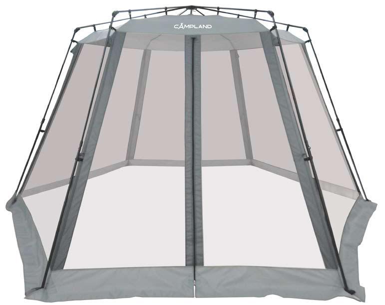 Тент быстрой сборки с москитной сеткой Campland Shelter, цвет: серый, 330 х 330 х 210 см37651Вместительный и простой в установке тент станет центральным местом в вашем лагере. Два входа обеспечивают комфортное использование, москитная сетка защищает от надоедливых насекомых. Также тент имеет внутреннюю юбку. Установка занимает 2-3 минуты.Размер тента: 330 х 330 х 210 см.