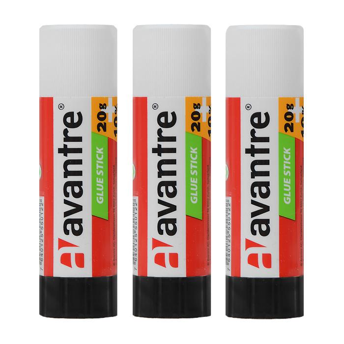 Клей-карандаш Avantre идеально подходит для склеивания бумаги, картона и фотографий. Выкручивающийся механизм обеспечивает постепенное выдвижение клеящего стержня из пластикового корпуса. Клей легко наносится, не деформирует поверхность, а также отстирывается от большинства тканей.Клей-карандаш экологически безопасен и не имеет запаха. Идеален для использования дома, в школе, офисе.  В комплекте 3 клея-карандаша. Характеристики:Объем клея: 15 г. Размер клея-карандаша: 9 см х 2,5 см х 2,5 см.