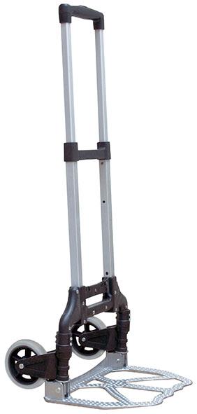 Тележка складная FIT, грузоподъемность 70 кгC0042416Тележка складная FIT предназначена для транспортировки грузов. Рама изготовлена из прочного алюминиевого сплава. Тележка рассчитана на 70 кг. Характеристики: Материал: металл, пластик, резина. Размер тележки: 40 см х 38 см х 97 см. Диаметр колес: 12 см. Грузоподъемность: 70 кг.
