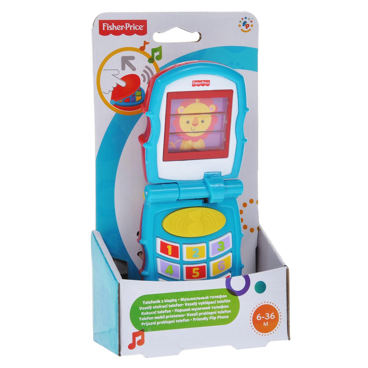 """Музыкальная игрушка Fisher-Price """"Раскладной телефон"""" привлечет внимание вашего малыша и не позволит ему скучать. Она выполнена из прочного пластика в виде телефона с открывающейся крышкой. На внутренней стороне крышки имеется экран, на котором изображена симпатичная зверюшка (львенок, слоник или обезьянка). При каждом открывании крышки телефона картинка меняется. При нажатии на кнопки с цифрами малыш услышит веселые звуки. А если нажать на кнопку с ноткой, будет играть одна из трех мелодий. Игрушка """"Раскладной телефон"""" способствует развитию у ребенка цветового и звукового восприятия, памяти, мышления, тактильный ощущений и мелкой моторики рук."""