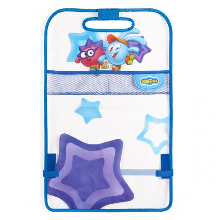 Кикмат Autoprofi Смешарики: Крош, цвет: синий, голубойDH2400D/ORКикмат – изобретение малоизвестное, но при этом незаменимое для всех, кто перевозит детей в автокресле. Он представляет собой защитную накидку, которая одевается при помощи липучек на тыльную часть переднего сиденья, защищая его от загрязнений.Дети, даже пристегнутые в автокресле, неугомонны и заставить их не пачкать ботинками автомобильное сиденье сложно. Гораздо проще защитить само сиденье, а для этого кикмат - незаменимый автоаксессуар. Он сделан из ПВХ, поэтому его легко очистить обычной тряпкой. Оригинальная яркая расцветка кикмата превосходно сочетается с остальной продукцией под брендом Смешарики.