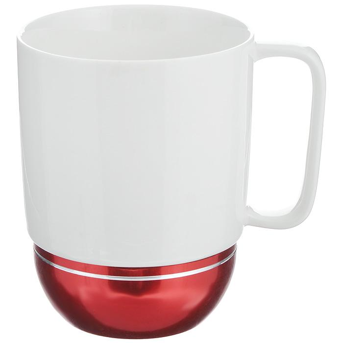 Кружка Amber Porcelain, цвет: белый, бордовый, 350 мл115510Кружка Amber Porcelain, выполненная из фарфора, имеет оригинальнуюформу. Дноизделия оснащено силиконовой накладкой.Такая кружка порадует васдизайном и функциональностью, а пить чай или кофе из нее станет ещеприятнее.