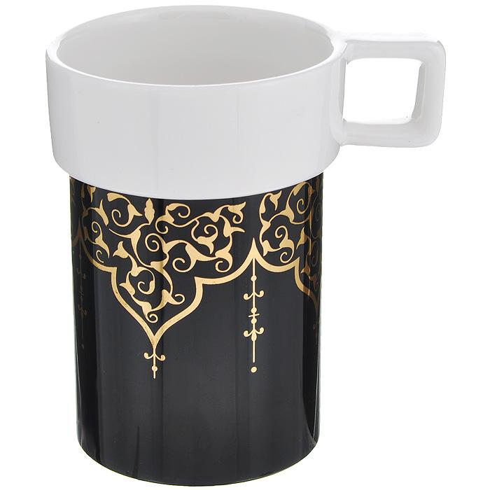 Кружка Amber Porcelain Орнамент, цвет: белый, черный, 220 мл214183Кружка Amber Porcelain Орнамент, выполненная из фарфора, имеет оригинальную форму и яркий дизайн. Дноизделия оснащено силиконовой накладкой.Такая кружка порадует васдизайном и функциональностью, а пить чай или кофе из нее станет ещеприятнее.