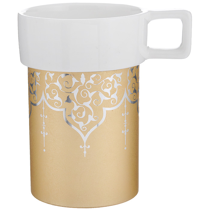 Кружка Amber Porcelain Орнамент, цвет: белый, золотистый, 220 мл04C1208-GKRPКружка Amber Porcelain Орнамент, выполненная из фарфора, имеет оригинальную форму и яркий дизайн. Дноизделия оснащено силиконовой накладкой.Такая кружка порадует васдизайном и функциональностью, а пить чай или кофе из нее станет ещеприятнее.