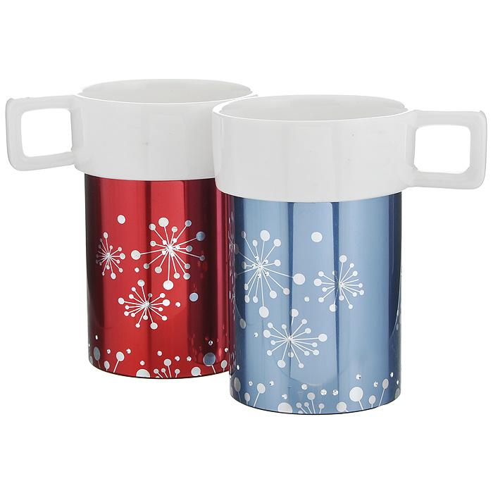 Набор кружек Amber Porcelain, 220 мл, 2 шт115510Набор Amber Porcelain состоит из двух кружек, выполненных из фарфора. Кружкиоригинальной формы оформлены орнаментом и имитацией страз. Дноизделий оснащено силиконовой накладкой. Этот необычный набор станетвеликолепным подарком для каждого и, несомненно, вызовет восхищение.