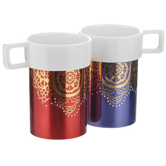 Набор кружек Amber Porcelain Ажурная салфетка, 220 мл, 2 шт214169Набор Amber Porcelain Ажурная салфетка состоит из двух кружек, выполненных из фарфора. Кружкиоригинальной формы оформлены золотистым орнаментом и имитацией страз. Дноизделий оснащено силиконовой накладкой. Этот необычный набор станетвеликолепным подарком для каждого и, несомненно, вызовет восхищение.