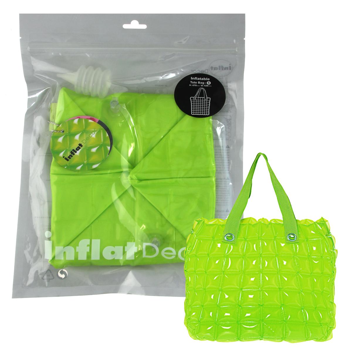 Сумка надувная Inflat Decor, цвет: лайм. 00791904508Яркая надувная сумка - великолепный аксессуар на лето! Сумка прямоугольной формы выполнена из ПВХ и снабжена ручками из полиэстера. Сумка легко надувается при помощи мини-насоса (входит в комплект) или рта. В сдутом виде сумка очень компактна и не займет много места. Надувная вместительная сумка - отличное решение для отдыха на пляже. Характеристики: Материал: ПВХ, полиэстер.Размер сумки: 33 см х 35,6 см х 14 см.