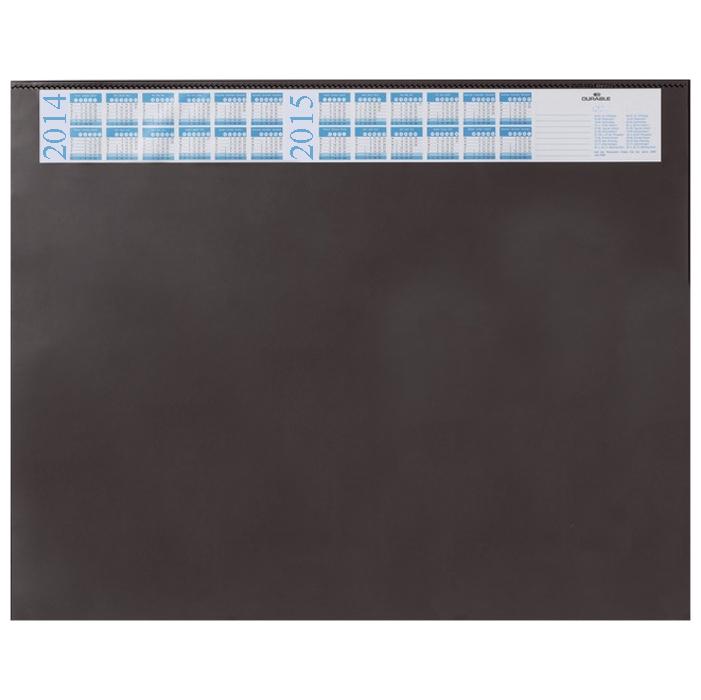 """Настольная накладка """"Durable"""" прямоугольной формы с поднимающейся прозрачной верхней пленкой и календарем на 2014-2015 годы не только защищает рабочую поверхность стола, но и предоставляет дополнительную возможность хранить нужную информацию - заметки, номера телефонов. Выполнено из высококачественного пластика и имеет тонкую поролоновую подложку, которая не позволяет подкладке-коврику скользить по поверхности стола."""