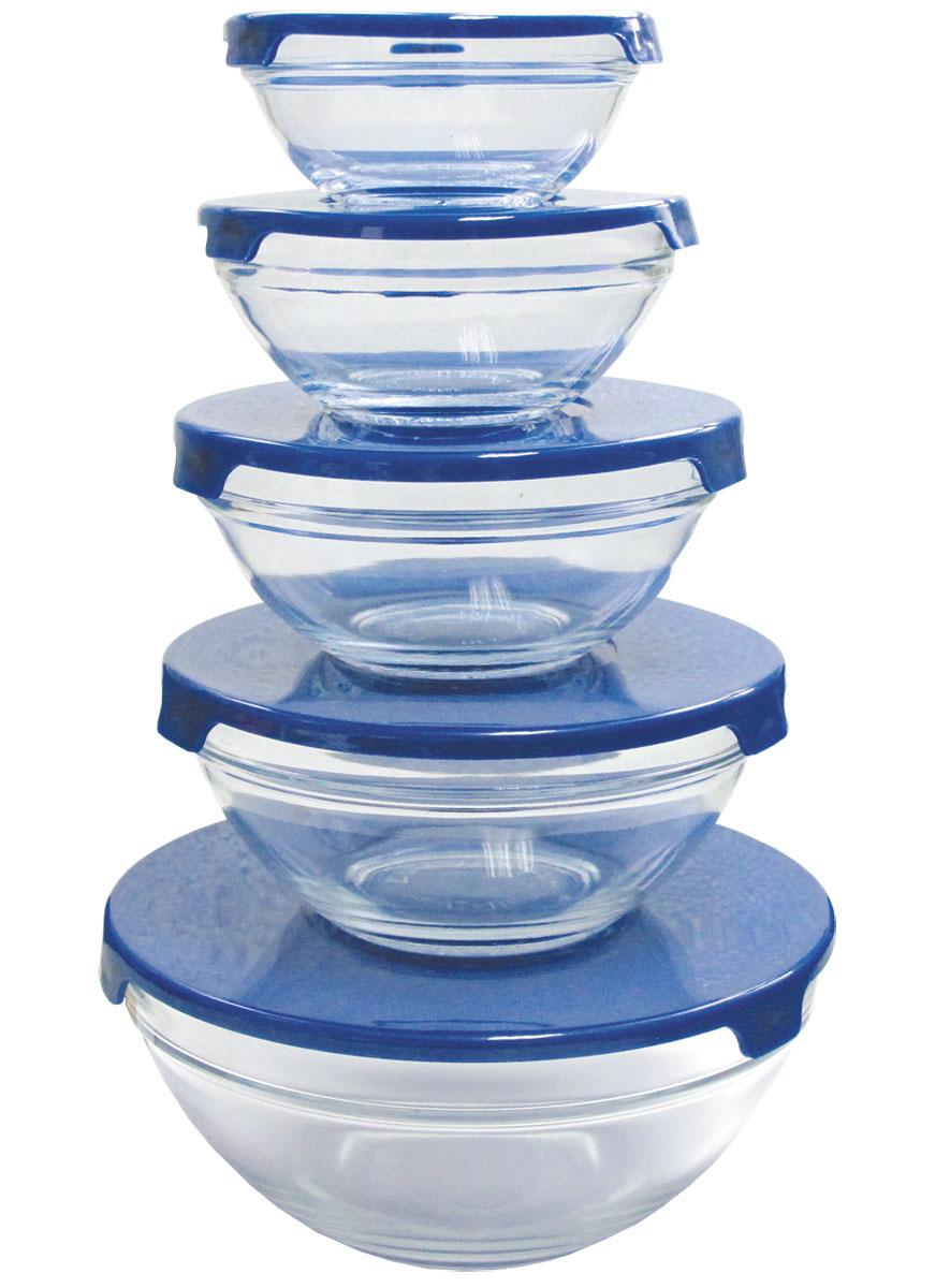 Набор мисок Bohmann, с крышками, цвет: синий, 10 предметов. 0135BHG115510Набор Bohmann состоит из пяти мисок разного размера, выполненных из прозрачного стекла. Миски снабжены пластиковыми плотно прилегающими крышками. Миски являются универсальным приобретением для любой кухни. С их помощью можно готовить блюда, хранить продукты и даже сервировать стол. Прозрачные стенки мисок позволяют видеть и распознавать содержащиеся внутри продукты. Оригинальный дизайн, высокое качество и функциональность набора Bohmann позволят ему стать достойным дополнением к вашему кухонному инвентарю.Миски можно ставить в холодильник, использовать в микроволновой печи и мыть в посудомоечной машине.Объем мисок: 130 мл, 240 мл, 410 мл, 540 мл, 1,05 л.Диаметр мисок: 9 см, 10,5 см, 12 см, 14 см, 17 см.Высота стенок мисок: 3,5 см, 4,5 см, 5,5 см, 6 см, 7,5 см.