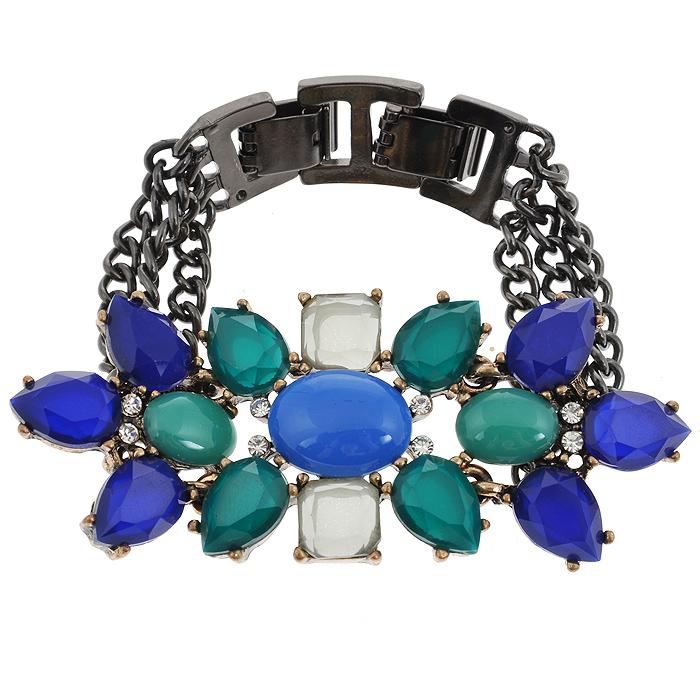 Браслет Fashion House, цвет: черный, синий, зеленый. FH31413Глидерный браслетБраслет Fashion House выполнен из металла и пластика. Браслет, состоящий из металлических цепочек и декоративного элемента в виде цветочка, украшен вставками из синего, зеленого и голубого пластика и белыми стразами. Браслет имеет два замочка один из которых служит для того что бы изменять его размер. Такой браслет позволит вам быть оригинальной и изящной и создать свой неповторимый образ. Красивое и необычное украшение блестяще подчеркнет изысканный вкус, женственность и красоту своей обладательницы и поможет внести разнообразие в привычный образ. Характеристики:Материал: металл, пластик, стразы. Длина браслета: 17 - 19 см. Ширина браслета: 3,5 см. Артикул: FH31413.