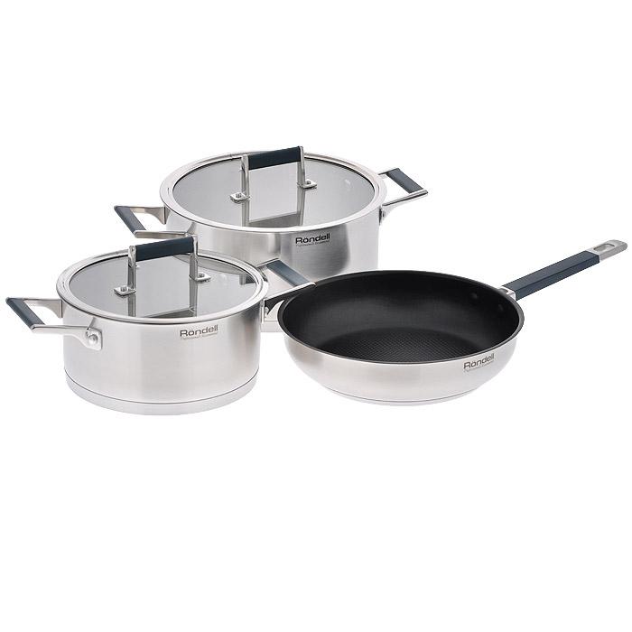 Набор посуды Rondell Verse, 5 предметов. RDS-39568/5/4Набор посуды Rondell Verse состоит из двух кастрюль с крышками и сковороды. Изделия изготовлены из высококачественной нержавеющей стали, что гарантирует безупречный внешний вид, практичность и долговечность. Уникальный двухэтапный метод технологии тройного дна с вштампованным, а затем вплавленным алюминиевым диском позволяет равномерно распределять и значительно дольше сохранять тепло по стенкам и дну посуды, что предотвращает пригорание пищи и обеспечивает более быстрое приготовление блюд. Посуда продолжает готовить даже после выключения плиты. Аккумуляция тепла при закрытой крышке создает замкнутый цикл парообразования, позволяя готовить в такой посуде без использования масла и воды или же с их минимальным количеством, благодаря чему сохраняется натуральный вкус продуктов. Особо прочное и долговечное внутреннее антипригарное покрытие нового поколения Excalibur (для сковороды). Можно использовать металлические аксессуары. Покрытие безопасно для здоровья. Крышка из термостойкого стекла позволяет контролировать процесс приготовления без потери тепла. Вам не нужны прихватки: ручки с мягкими силиконовыми вставками не нагреваются и не скользят, приятны на ощупь. Плавный переход от дна посуды к ее стенкам - для вашего удобства при помешивании и мытье.С отметками литража на внутренних стенках посуды вы легко сможете соблюдать пропорции рецептуры без применения дополнительных предметов. Эргономичный дизайн и функциональность посуды позволит вам наслаждаться приготовлением ваших любимых блюд. Можно использовать на всех типах плит: газовых, электрических, галогенных, стеклокерамических, индукционных. Можно мыть в посудомоечной машине. Не подходит для духовки.В комплекте - книга рецептов от шеф-повара. Характеристики:Материал: нержавеющая сталь 18/10, стекло, силикон. Диаметр сковороды: 24 см. Высота стенки сковороды: 6 см. Диаметр кастрюль: 20 см, 24 см. Высота стенки кастрюли: 10 см, 12 см. Толщина стенки: 3 мм. Толщина 