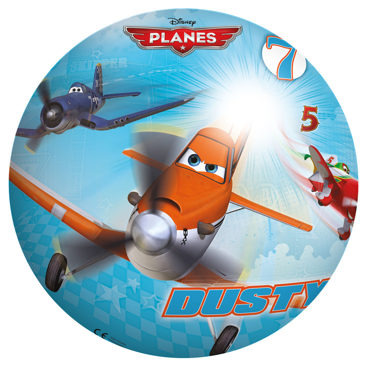 """Яркий детский мяч John """"Самолеты"""" - это игрушка для детей любого возраста. Он выполнен из вспененного полимера и оформлен изображениями персонажей одноименного мультфильма. Мяч незаменим для любителей подвижных игр и активного отдыха, подходит для игр на воде. Игры с мячом развивают координацию движений, способствуют физическому развитию ребенка."""