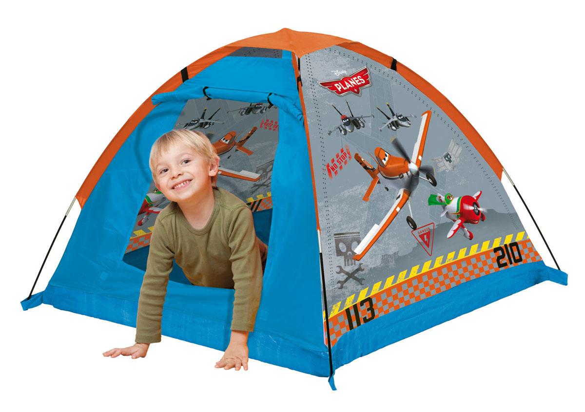 """Детская игровая палатка """"Самолеты"""" идеально подойдет для детских игр, как на улице, так и в помещении. Она имеет один вход. Палатка изготовлена из легкого нейлона ярких цветов. Каркас палатки поддерживается при помощи стеклопластиковых прутьев. Благодаря своей легкости и компактным размерам в сложенном виде палатку легко перевозить и хранить. Ваш ребенок с удовольствием будет играть в такой палатке, придумывая различные истории. Учеными давно подмечен факт, что ребенок чувствует себя психологически более защищенным, находясь под крышей, соответствующей его росту - именно поэтому дети очень любят лазить под стол, залезать в шкаф. В палатке """"Самолеты"""" малыш будет чувствовать себя максимально уютно."""