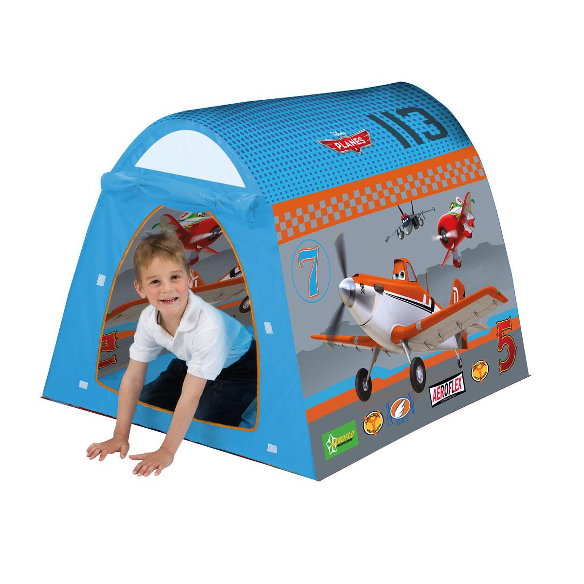 """Детская игровая палатка """"Самолеты"""" идеально подойдет для детских игр, как на улице, так и в помещении. Она имеет один вход. Палатка изготовлена из легкого нейлона ярких цветов. Каркас палатки поддерживается при помощи пластиковых прутьев. Благодаря своей легкости и компактным размерам в сложенном виде палатку легко перевозить и хранить. Ваш ребенок с удовольствием будет играть в такой палатке, придумывая различные истории. Учеными давно подмечен факт, что ребенок чувствует себя психологически более защищенным, находясь под крышей, соответствующей его росту - именно поэтому дети очень любят лазить под стол, залезать в шкаф. В палатке """"Самолеты"""" малыш будет чувствовать себя максимально уютно."""