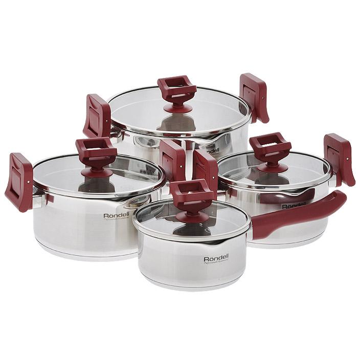 Набор посуды Rondell Erste, 8 предметов. RDS-39054 009312Набор посуды Rondell Erste состоит из 3 кастрюль с крышками и ковша с крышкой. Посуда выполнена из высококачественной нержавеющей стали 18/10, что гарантирует безупречный внешний вид посуды, практичность и долговечность. Уникальный 2-х этапный метод технологии тройного дна с вштампованным, а затем вплавленным алюминиевым диском позволяет равномерно распределять и значительно дольше сохранять тепло по стенкам и дну посуды, что предотвращает пригорание пищи и обеспечивает более быстрое приготовление блюд. Посуда продолжает готовить даже после выключения плиты. Аккумуляция тепла при закрытой крышке создает замкнутый цикл парообразования, позволяя готовить в такой посуде без использования масла и воды или же с их минимальным количеством, что позволяет сохранить натуральный вкус продуктов. Крышки, выполненные из термостойкого стекла, позволяют контролировать процесс приготовления без потери тепла. Оригинальный дизайн крышки и ручек кастрюль позволяет вам сливать жидкость без дополнительных усилий: просто поверните крышку перфорированной стороной к изгибу стенки кастрюли и зафиксируйте ее ручками. Вам не нужны прихватки: ручки с бархатистым силиконовым покрытием не нагреваются и не скользят, приятны на ощупь. С отметками литража на внутренних стенках посуды вы легко сможете соблюдать пропорции рецептуры без применения дополнительных предметов. Эргономичный дизайн и функциональность набора Rondell Erste позволит вам наслаждаться процессом приготовления ваших любимых блюд. Не подходит для использования в духовке и посудомоечной машине. Не подвергать ручки контакту с открытым огнем. Подходит для использования на газовых, электрических, стеклокерамических, галогеновых, индукционных плитах. Характеристики:Материал: нержавеющая сталь 18/10, стекло, силикон. Объем кастрюль: 1,8 л, 2,4 л, 5 л. Внутренний диаметр кастрюль: 18 см, 20 см, 24 см. Высота стенок кастрюль: 10 см, 10,5 см, 14,5 см. Ширина кастрюль с учетом ручек: 3
