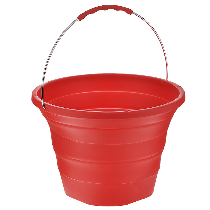 Ведро складное Bohmann, силиконовое, цвет: красный, 7,2 л