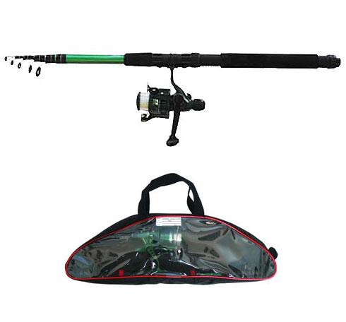 Спиннинг телескопический Salmo Taifun Tele Pack, 2,4 м, 10-30 гPGPS7797CIS08GBNVУниверсальный спиннинг-комплект для начинающего спиннингиста, состоящий из телескопического спиннингового удилища Taifun Tele Set и катушки Taifun. Компактный комплект подходит для ловли щуки-травянки, окуня и другой хищной рыбы среднего размера. На шпулю катушки намотана монофильная леска. Комплект упакован в удобную пластиковую сумку с замком-молнией.Особенности: Материал бланка удилища - стекловолокно;Строй бланка средний;Класс спиннинга L, ML;Конструкция телескопическая;Тип удилища - TRAVEL;Усиление стыка колена металлическим кольцом;Кольца пропускные:- паянные к опорному кольцу,- со вставками керамическими.Рукоятка: неопреновая;Катушкодержатель винтового типа;Катушка безынерционная TAIFUN с леской.
