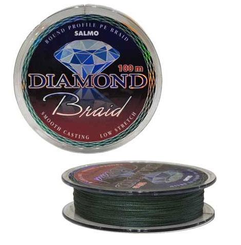 Шнур плетеный Salmo Diamond Braid, цвет: зеленый, сечение 0,20 мм, длина 100 м4910-010Плетеный шнур универсального применения. Рекомендуется использовать в тех случаях, когда требуемая прочность не может быть достигнута обычными нейлоновыми лесками. Шнур круглого сечения с классическим плетением из 4-х прядей.Особенности:повышенная износостойкость;высокая чувствительность - коэффициент растяжения близок к нулю;отсутствует память;зеленая расцветка;тест: 9,87 кг.