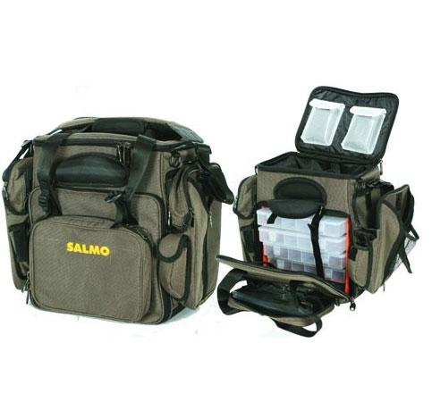 Сумка рыболовная Salmo 20, цвет: зеленый162Многофункциональная сумка для различных рыболовных принадлежностей. Сумка имеет два больших кармана сбоку, два спереди и несколько карманов для мелочей. Так же есть жесткое отделение для хранения очков.В комплекте пять пластиковых коробок, размером 28 см х 18 см х 4 см с многочисленными отделениями.Двойная ручка и мягкий, регулируемый по длине, наплечный ремень.