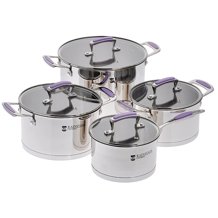 Набор посуды Rainstahl, 8 предметов. 1083RS54 009312Набор посуды Rainstahl состоит из трех кастрюль и ковша. Предметы набора выполнены из нержавеющей хромоникелевой стали 18/10. Износостойкость, долговечность и надежность этого материала, а также первоклассная обработка обеспечивают практически неограниченный запас прочности. Зеркальная полировка придает посуде стильный и привлекательный внешний вид.Изделия имеют многослойное термоаккумулирующее дно с алюминиевым основанием, которое быстро и равномерно накапливает тепло и также равномерно передает его пище. Такое дно позволяет готовить блюда с минимальным количеством воды и жира, сохраняя при этом вкусовые и питательные свойства продуктов. Применение технологии диффузной сварки (импакт дно) многослойного дна создает эффект удержания тепла - пища готовится и после отключения плиты благодаря термоаккумулирующим свойствам посуды. Диаметры изделий соответствуют общепринятым размерам конфорок бытовых плит. Изделия оснащены удобными литыми металлическими ручками с резиновыми вставками фиолетового цвета, которые не нагреваются в процессе приготовления пищи, а остаются лишь теплыми. Крышки изготовлены из жаростойкого стекла, оснащены ручками, отверстиями для выпуска пара и металлическим ободом. Внутренние стенки имеют отметки литража.Можно использовать на газовых, электрических, галогенных, стеклокерамических, индукционных плитах. Можно мыть в посудомоечной машине. Характеристики: Материал: нержавеющая сталь, стекло, резина. Объем кастрюль: 2,6 л, 3,6 л, 7,2 л. Диаметр кастрюль: 18 см, 20 см, 24 см. Высота стенок кастрюль: 10,5 см, 11,5 см, 16 см. Объем ковша: 1,9 л. Диаметр ковша: 16 см. Высота стенки ковша: 9,5 см. Толщина стенки: 3,5 мм. Толщина дна: 5 мм.