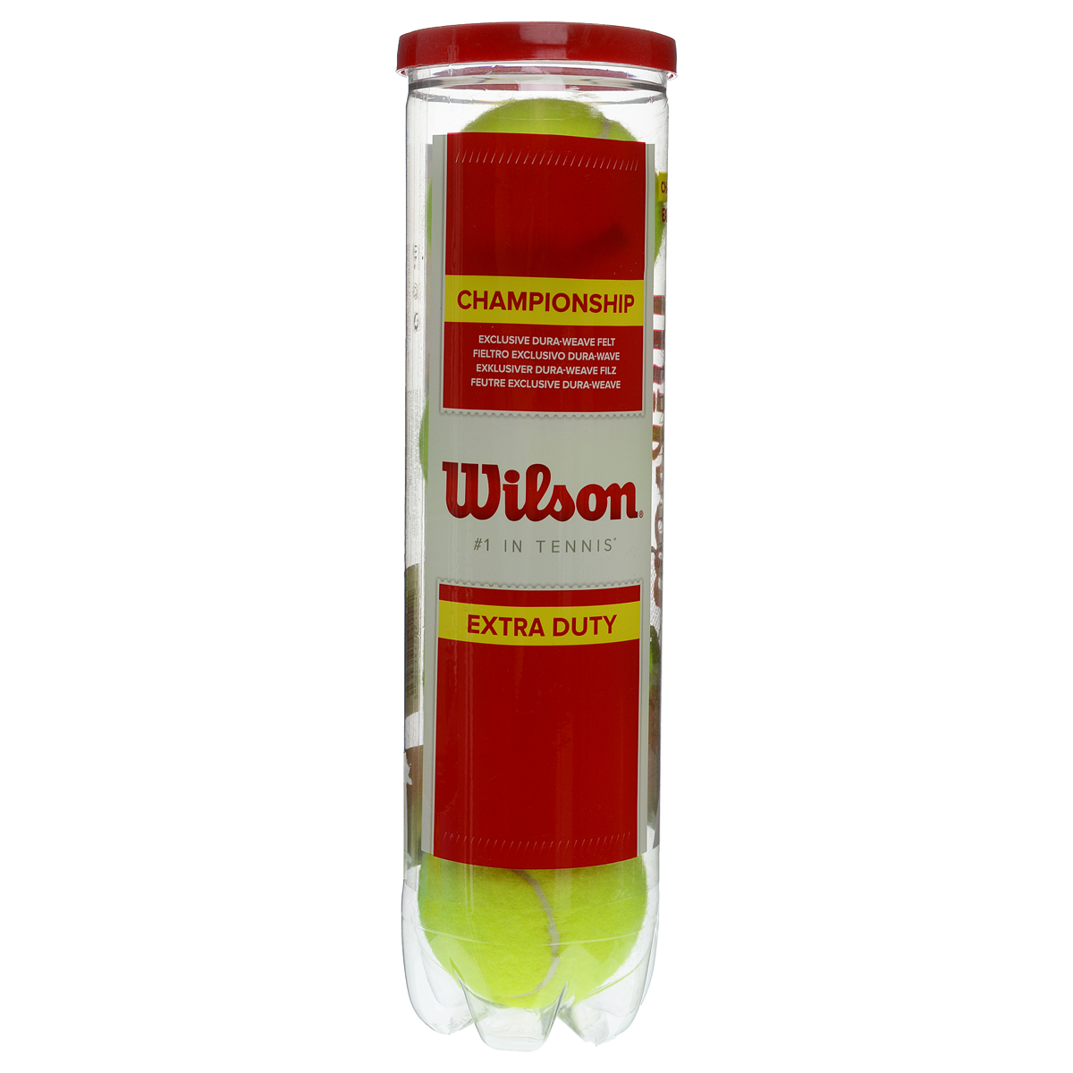 Мячи Wilson Championship Extra Duty для большого тенниса, 4 штCG3109Классический теннисный мяч для соревнований с войлочной тканью Dura-Weave Extra Duty, превосходные результаты и прочность при игре на твердых покрытиях.