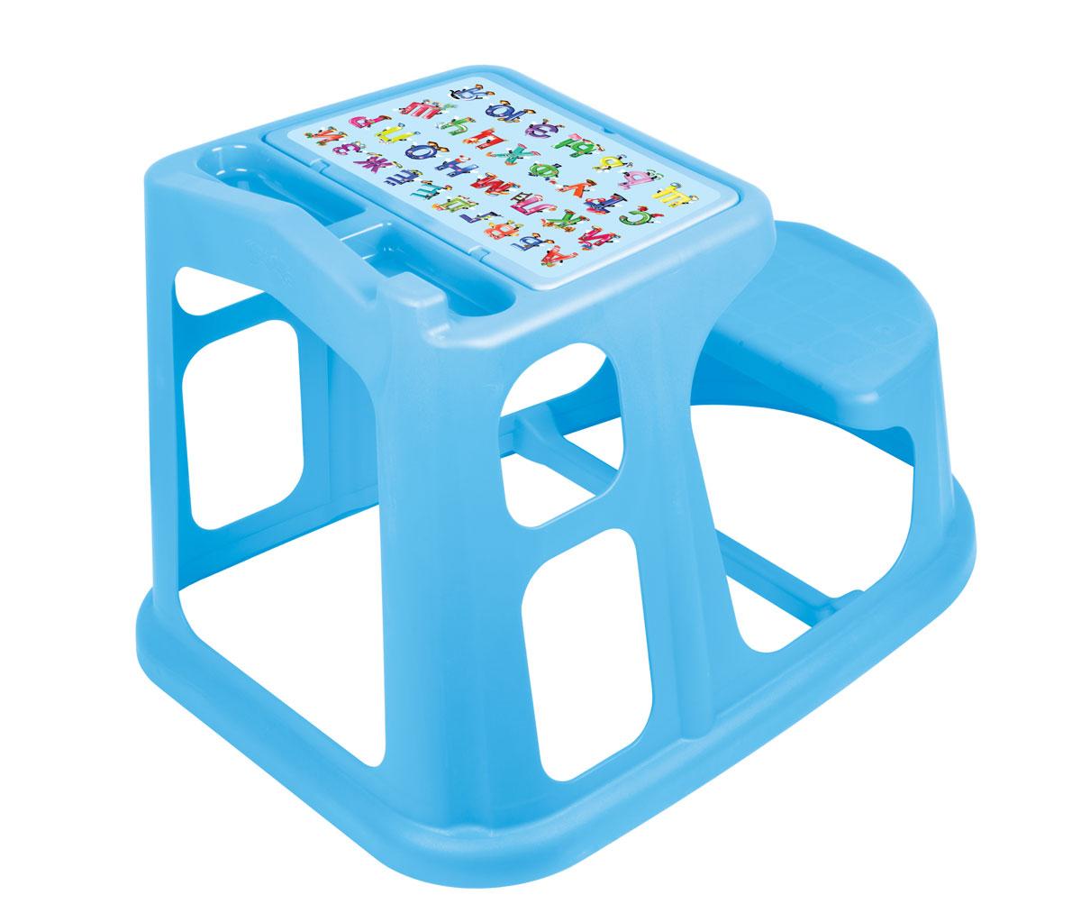 """Стол-парта """"Алфавит"""", выполненная из прочного полипропилена без содержания бисфенола А, послужит для вашего малыша удобным рабочим местом во время конструирования, лепки, рисования или просто игры. Столешница с крышкой имеет специальные углубления для карандашей, кисточек и фломастеров, а под крышкой расположены три ниши для хранения красок, блокнотов и других мелочей. Крышка оформлена изображением цифр от 1 до 9. Парта имеет устойчивую конструкцию и безопасные закругленные углы и для удобства совмещена со скамейкой. Порадуйте своего ребенка таким замечательным подарком!"""