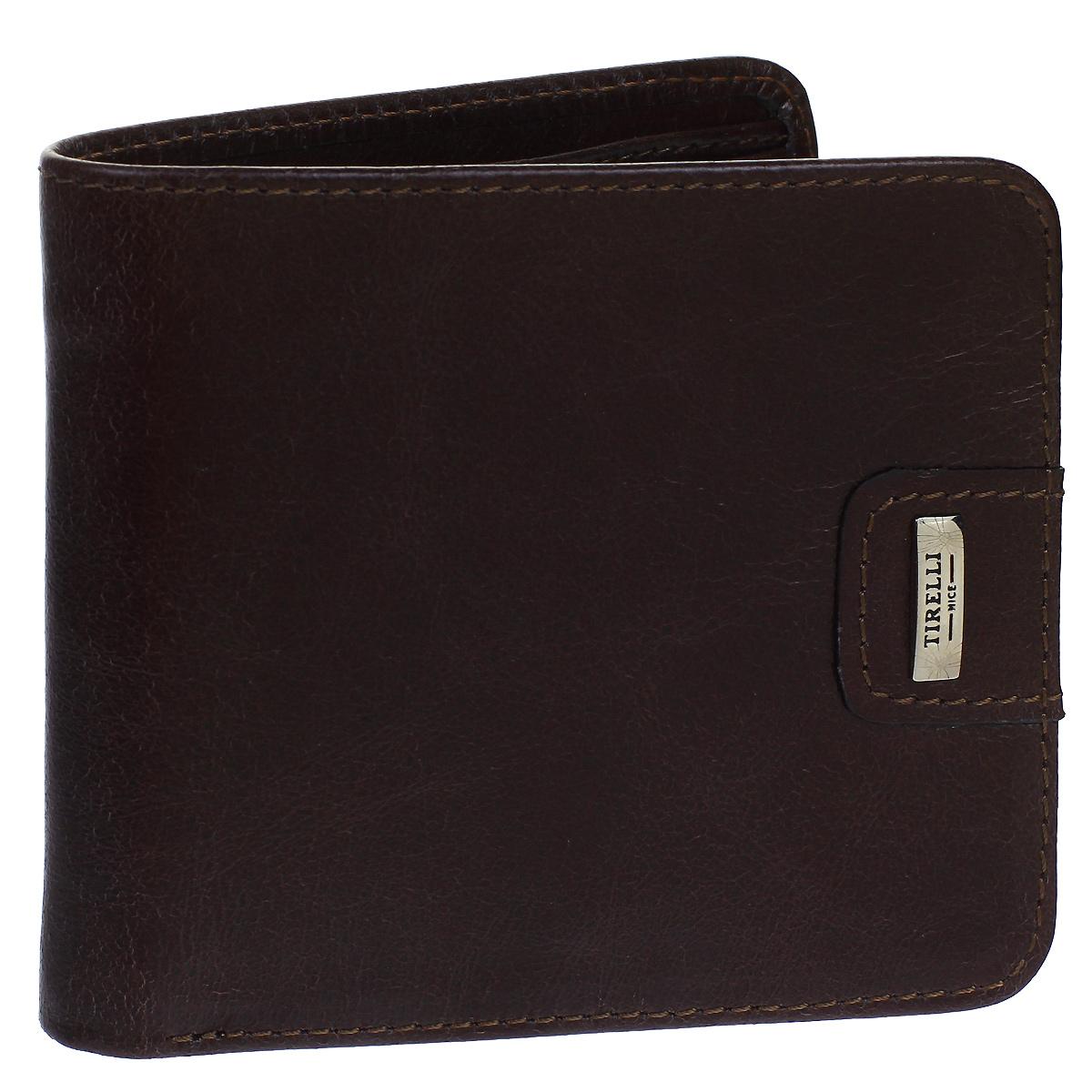 Портмоне мужское Tirelli Денвер, цвет: коричневый. 15-315-121-022_516Мужское портмоне Tirelli Денвер изготовлено из натуральной кожи коричневого цвета с матовой текстурой. Портмоне оформлено фирменным логотипом. Внутри имеется два отделения для купюр, три кармана для хранения пластиковых карт, визиток, дисконтных карт, одно отделение с пластиковым окошком для фото и один потайной кармашек.Такое портмоне не только поможет сохранить внешний вид ваших документов и защитит их от повреждений, но и станет ярким аксессуаром, который подчеркнет ваш образ. Изделие упаковано в подарочную коробку синего цвета с логотипом фирмы Tirelli. Характеристики:Материал: натуральная кожа, текстиль, металл. Цвет: коричневый. Размер портмоне (в сложенном виде): 11 см х 9,5 см х 1,5 см.
