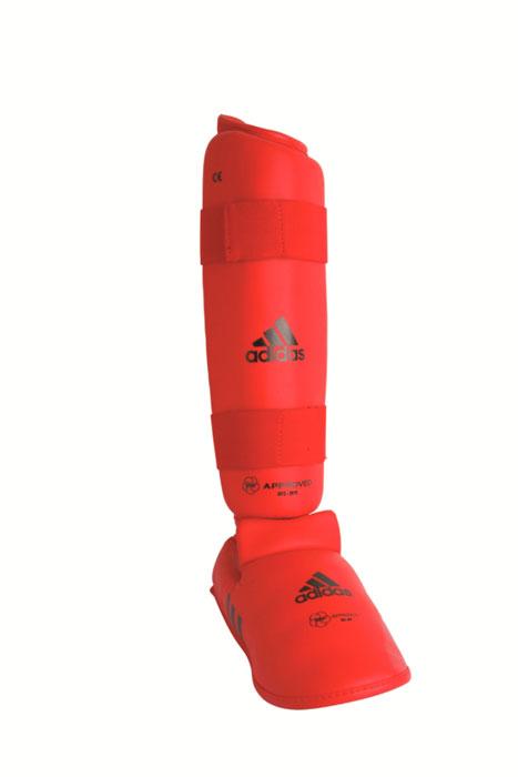 Защита голени и стопы Adidas WKF Shin & Removable Foot, цвет: красный. 661.35. Размер LAIRWHEEL Q3-340WH-BLACKЗащита голени и стопы Adidas WKF Shin & Removable Foot с объемным наполнителем необходима при занятиях спортом для защиты пальцев, суставов вывихов, ушибов и прочих повреждений. Накладки выполнены из высококачественного полиуретана PU3G. Накладки прочно фиксируются за счет эластичной ленты и липучки. Между собой защита голени и защита стопытакже скрепляются липучкой. Удобные и эргономичные накладки Adidas идеально подойдут для занятий карате и другими видами единоборств.Одобрены WKF.Размер ноги 42-44. Длина защиты голени 36 см.