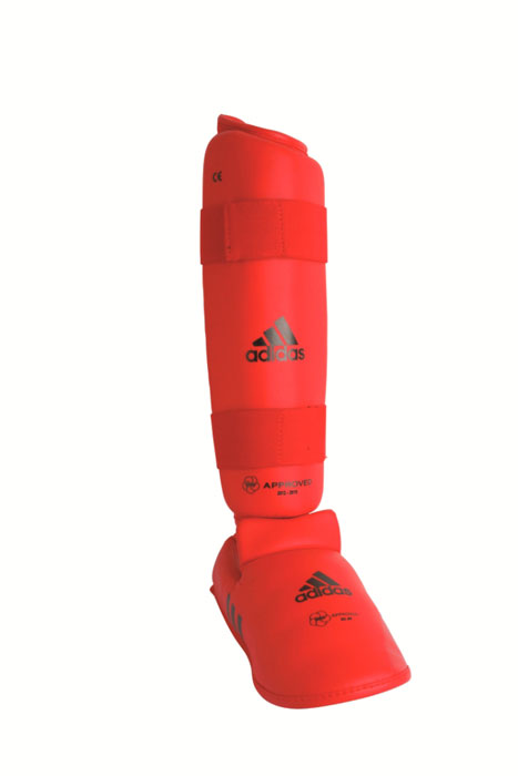 Защита голени и стопы Adidas WKF Shin & Removable Foot, цвет: красный. 661.35. Размер XL adidas adidas 11anatomic lite shin guards