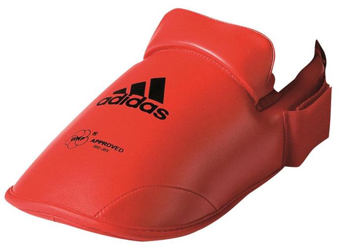 Защита стоп Adidas WKF Foot Protector, цвет: красный. 661.50. Размер XL (45-47)AQ7754Защита стоп Adidas WKF Foot Protector с объемным наполнителем необходимы при занятиях спортом для защиты пальцев, суставов стопы от вывихов, ушибов и прочих повреждений. Накладки выполнены из высококачественного полиуретан PU3G. Накладки прочно фиксируются за счет эластичной ленты и липучки. Удобные и эргономичные накладки Adidas идеально подойдут для занятий карате и другими видами единоборств.Одобрены WKF.