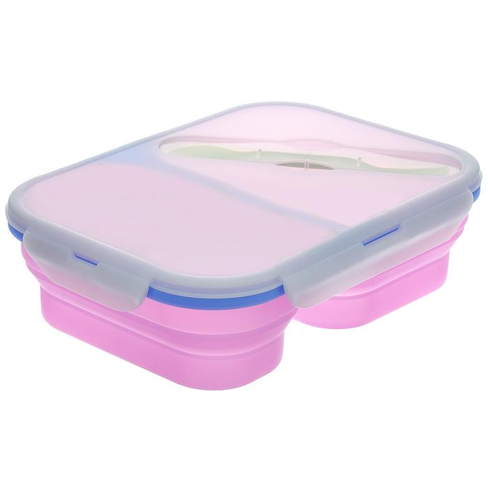 Контейнер силиконовый Bohmann, складной, с двумя отделениями, с вилкой02513BHСкладной контейнер с двумя отделениями Bohmann, выполненный из силикона, это удобная и легкая тара для хранения и транспортировки бутербродов, порционных салатов, мяса или рыбы, горячих и холодных блюд, даже жидких продуктов. Силикон - экологически безопасный материал, не выделяющий вредных веществ при взаимодействии с пищей. Если у вас вошло в привычку брать на работу домашнюю еду, с этим контейнером вы можете разнообразить свой рацион. После использования контейнер можно просто сложить, он становится в два раза меньше по высоте и легко поместится в сумку. Необычная форма, яркий цвет, более удобная конструкция - все это отличает контейнер от других лоточков.Контейнер абсолютно герметичен. Пластиковая крышка оснащена четырьмя специальными защелками и силиконовым уплотнителем.К контейнеру прилагается пластиковая вилка-ложка, которая хранится в специальном углублении на крышке.Контейнер выдерживает температуру в диапазоне от -20°C до +230°C, его можно мыть в посудомоечной машине, использовать в СВЧ и хранить в холодильнике.Характеристики:Материал: силикон, пластик. Объем отделений: 660 мл, 900 мл. Размер отделений: 9 см х 16 см, 13 см х 16 см. Общий размер контейнера (с учетом крышки): 26 см х 19 см х 7,5 см. Размер контейнера в сложенном виде (с учетом крышки): 26 см х 19 см х 4 см. Длина вилки-ложки: 16 см.