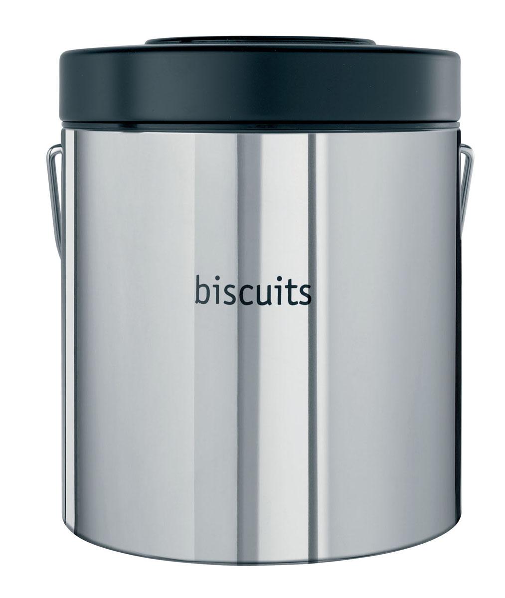 Контейнер для продуктов Brabantia. Печенье, 3,5 лVT-1520(SR)Контейнер для продуктов Brabantia изготовлен из антикоррозийной стали с зеркальной полировкой. Внешняя стенка контейнера оформлена надписью Biscuits (Печенье). Внутренняя поверхность контейнера и крышка выполнены из пластика. На крышке расположена влаговпитывающая капсула с фиксатором даты, который всегда напомнит, когда в последний раз сушили капсулу в данном контейнере. Влаговпитывающую капсулу рекомендуется периодически сушить в нагретой духовке в течение короткого времени. Для удобной переноски у контейнера имеется прочная стальная ручка. Характеристики:Материал: сталь, пластик. Объем: 3,5 л. Диаметр по верхнему краю: 16 см. Высота стенки: 19 см.Гарантия производителя: 5 лет.