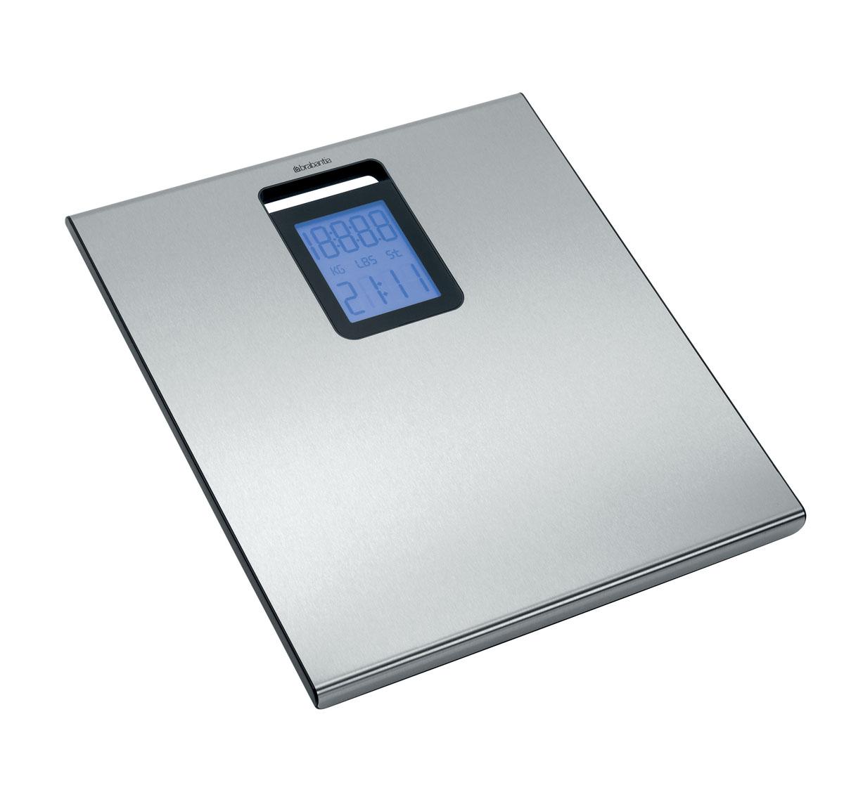 Весы для ванной комнаты BrabantiaVT-2406 Black WhiteСтильные весы для ванной комнаты Brabantia со встроенными часами имеют широкую платформу и большой дисплей с подсветкой.Автоматическое включение одним касанием.Автоматическое отключение питания, обеспечивающее экономию ресурса батарей. Просты в очистке – уникальное покрытие с защитой от отпечатков пальцев. Отличная устойчивость – прочные защитные противоскользящие колпачки. Большой предел взвешивания (макс 160 кг). Изделие поставляется с комплектом батарей (4 x AAA 1,5 V).Компактны при хранении – в комплект входит кронштейн для крепления к стене. Просты в использовании – четкая пошаговая инструкция. Изготовлены из долговечных коррозионностойких материалов.