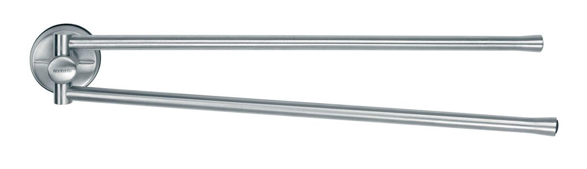Держатель для полотенец Brabantia, настенный, вращающийся21395599Держатель Brabantia выполнен в виде двух стальных стержней из нержавеющей стали с матовой полировкой. Благодаря специальной конструкции, стержни держателя могут вращаться. Держатель можно повесить на стене в ванной комнате или на кухне. Крепления входят в комплект. Предназначен для домашнего использования и займет достойное место среди аксессуаров на вашей кухне.