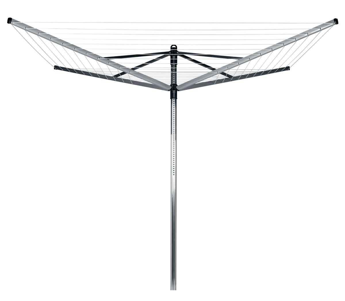 Сушилка для белья Brabantia Lift-O-Matic37003194Сушилка Brabantia Lift-O-Matic с четырьмя направляющими вращается вокруг своей оси и регулируется по высоте. Благодаря вращающейся конструкции, вам не придется ходить вокруг сушилки с корзиной белья, а специальный механизм Lift-O-Matic поможет легко настроить идеальную рабочую высоту сушилки. Особенности: - Изготовлена из материалов, стойких к коррозии: направляющие из стали со специальным покрытием и алюминиевая труба диаметром 45 мм. - Удобно вешать и снимать белье, так как можно легко изменять высоту веревок (от 124 до 182 см).- Сушилка плавно вращается даже при полной загрузке мокрым бельем. - В нижнем положении идеально подходит для проветривания подушек и других постельных принадлежностей. - Компактная модель: сушилка легко складывается и занимает мало места при хранении. Механизм сложения - зонтик. - Высокопрочные струны с противоскользящим профилем. - Металлическое основание для установки сушилки в комплекте.