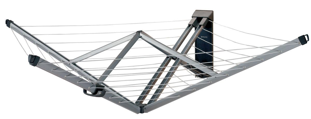 Сушилка для белья Brabantia Wallfix, настенная. 37584237003192Сушилка для белья Brabantia Wallfix будет незаменима для сушки белья на даче, во дворе дома, на открытом воздухе и в помещениях с маленькой площадью. Легкая и прочная конструкция сушилки изготовлена из высококачественной нержавеющей стали, устойчивой к влаге и ржавчине. Сушилка оснащена надежными веревками для белья, общая длина которых составляет 24 метра. Сушилка мгновенно раскрывается и закрывается одним движением руки. В собранном виде не занимает много места. В комплект входит защитный чехол, кронштейн для крепления к стене и фурнитура для монтажа. Подробная инструкция по установке напечатана на коробке.