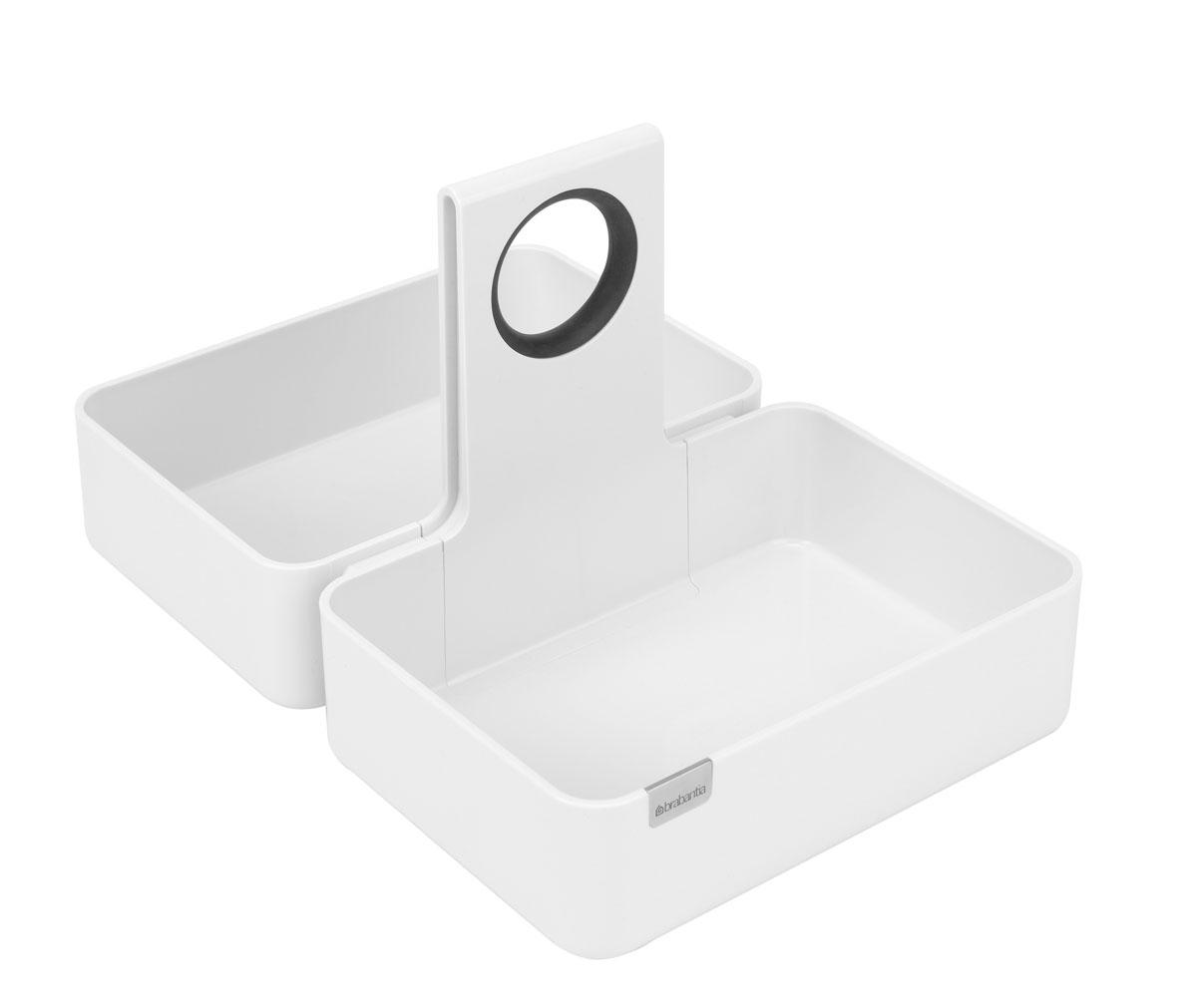 Кухонная подставка-органайзер Brabantia, цвет: белый. Размер M4630003364517Модульная конструкция, эффективное использование пространства. Подходит для размещения корзинки для хлеба. Подходит для всех распространенных размеров кухонных ящиков и шкафов; Эргономичное изделие с удобной ручкой; Отличное решение для упорядоченного хранения различных предметов;Идеальное решение для хранения продуктов в фабричной упаковке (рис, макаронные изделия и т.п.); Стильный дизайн – можно использовать на обеденном или рабочем столе; Противоскользящие накладки на дне предотвращают перемещение подставки в ящике или шкафу; Прочное долговечное изделие из высококачественных материалов; Легко чистится благодаря сглаженным формам и коррозионностойким свойствам; Размер: 360 х 245 х 175 мм.