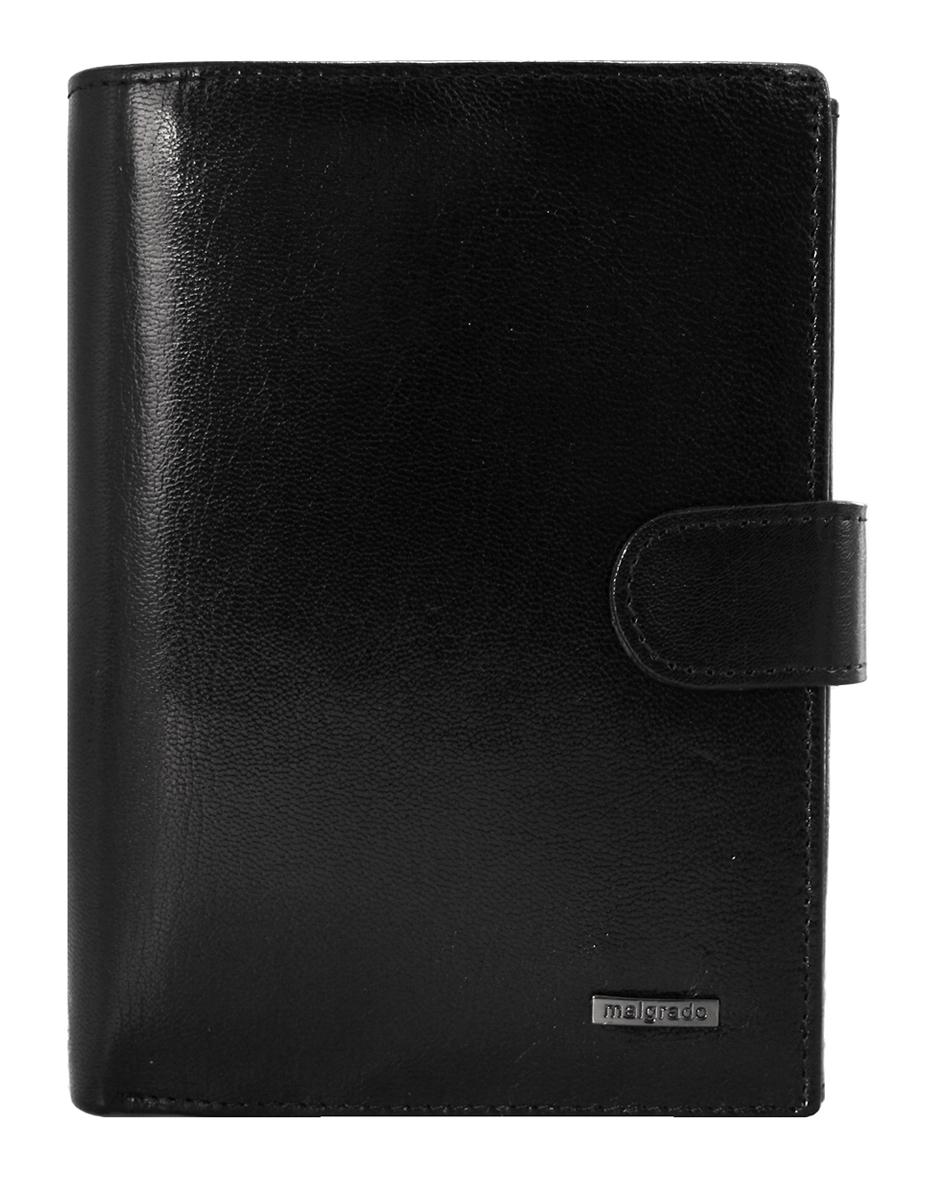 Портмоне Malgrado, цвет: черный. 54006-5401D BlackBM8434-58AEПортмоне Malgrado выполнено из высококачественной натуральной кожи черного цвета с логотипом фирмы. Портмоне имеет два кармана для купюр, один из которых на молнии, двенадцать отделений для визиток, два скрытых кармашка, три прозрачных, кармашек для мелочи на кнопке и блок из шести пластиковых файлов для авто-документов.Портмоне закрывается хлястиком на кнопку. Это элегантное портмоне непременно подойдет к вашему образу и порадует простотой, стилем и функциональностью. Портмоне упаковано в коробку из плотного картона с логотипом фирмы. Характеристики: Материал: натуральная кожа, текстиль, металл. Размер портмоне в сложенном виде: 14 см х 11 см х 2 см.