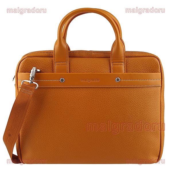 Сумка мужская Malgrado, цвет: коричневый. BR09-72103C1538S76245Оригинальная мужская сумка Malgrado из натуральной кожи коричневого цвета. Сумка с двумя ручками на молнии. Внутри одно большое отделение, открытый кармашек для бумаг. Также на внешней стороне расположен вшитый карман. На задней стороне также расположен вшитый кармашек на молнии. Прилагается съемный плечевой текстильный ремень. Характеристики:Материал: натуральная кожа, текстиль, металл. Размер сумки: 39 см х 30 см х 8 см. Высота ручек: 12 см. длина плечевого ремня: 125-140 см. Цвет: коричневый.