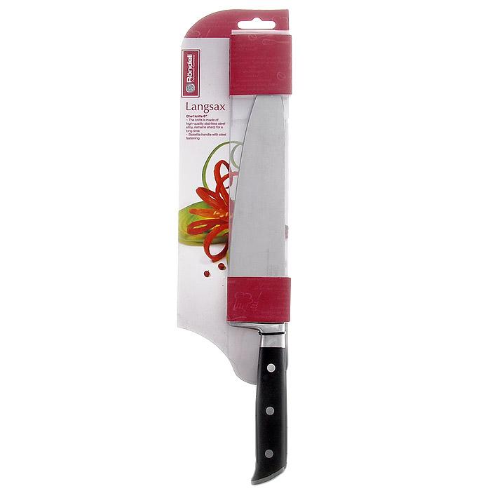 Нож поварской Rondell Langsax, длина лезвия 20 см9032Нож Rondell Langsax выполнен из высококачественной немецкой нержавеющей стали X30Cr13. Рукоятка, выполненная из черного бакелита со стальными креплениями, обеспечивает комфортный и легко контролируемый захват. Нож устойчив к коррозии и ржавчине, долго держит заточку, не выцветает и не теряет свой внешний вид с течением длительного времени. Нож с толстым, широким и длинным лезвием с центральным острием позволяет легко рубить капусту, овощи, зелень, резать замороженное мясо, рыбу и птицу. Практичный и функциональный нож Rondell Langsax займет достойное место среди аксессуаров на вашей кухне.Нельзя мыть в посудомоечной машине. Характеристики: Материал: нержавеющая сталь X30Cr13, бакелит. Общая длина ножа: 33 см. Длина лезвия: 20 см. Посуда Rondell совсем недавно появилась на российском рынке, но ужепрекрасно себя зарекомендовала. Эту посуду по достоинству оценили тысячи любителейкулинарии, а рекомендации профессионалов - шеф-поваров многих ресторанов и ведущихпопулярных кулинарных программ служат дополнительным весомым аргументом в еепользу. Профессиональные технологии, изысканный дизайн и широкий ассортимент делаютпосуду Rondell исключительно привлекательной для всех, кто любит и умеет готовить.