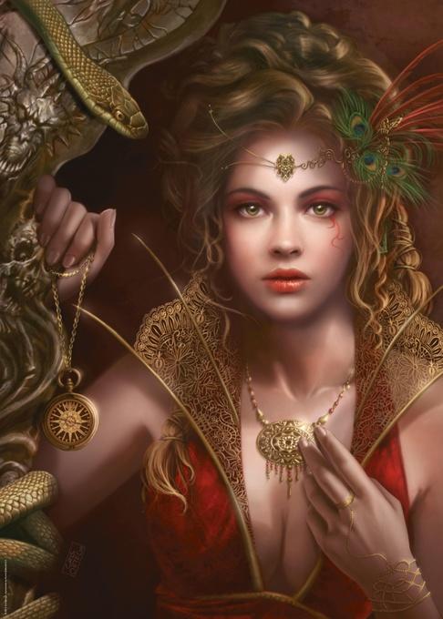 Девушка с золотым украшениями. Пазл, 1000 элементов