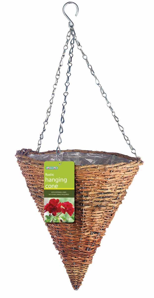 Корзина подвесная для цветов Gardman, диаметр 30 см. 0204994672Подвесная плетеная корзина Gardman в форме конуса изготовлена из рустика. Каркас выполнен из металла. Корзина уже оснащена специальной пленкой и полностью готова для посадки растений. Прекрасно подходит для цветов. Подвешивается с помощью специальной тройной металлической цепи с крючком.Кашпо часто становятся последним штрихом, который совершенно изменяет интерьер помещения или ландшафтный дизайн сада. Благодаря такому кашпо вы сможете украсить вашу комнату, офис или сад. Характеристики: Материал: металл, рустик. Диаметр корзины: 30 см. Высота корзины: 31 см. Товары для садоводства от Gardman - это вещи, сделанные с любовью, с истинно английской практичностью, основанной на глубоких традициях садоводства Великобритании. Эти товары широко известны садоводам Европы, США, Канады и Японии. Демократичные цены и продуманный ассортимент Gardman завоевал признательность и российского покупателя, достойного хороших, качественных вещей. В ассортименте Gardman есть практически все, что нужно современному садоводу - от совочка для рассады до предметов декора и ландшафтного дизайна.