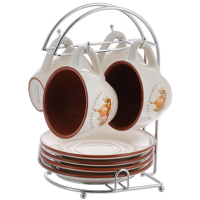 Набор чайный Terracotta Сардиния, 8 предметов. TLY314-V-AL115510Чайный набор Сардиния состоит из металлической подставки, 4 блюдец и 4 чашек. Предметы набора изготовлены из жаропрочной керамики и покрыты высококачественной глазурью. Такой чайный набор не оставит равнодушной не одну хозяйку и станет прекрасным подарком. Характеристики:Материал:металл, керамика. Диаметр блюдца: 15,7 см. Диаметр кружки по верхнему краю: 9 см. Диаметр основания кружки: 4,5 см. Высота кружки: 7 см. Объем кружки: 200 мл. Размер подставки (Д х Ш х В): 17 см х 15 см х 25 см. Производитель: Китай. Торговая марка Terracotta - это коллекции разнообразной посуды для сервировки стола, хранения продуктов и приготовления пищи из жаропрочной керамики, покрытой высококачественной глазурью. Изделия Terracotta идеально подходят для выпечки, приготовления различных блюд и разогревания пищи в духовом шкафу или микроволновой печи. Может использоваться для хранения продуктов, в том числе в холодильнике. При приготовлении или охлаждении пищи рекомендуется использовать постепенный нагрев или охлаждение. Посуда торговой марки Terracotta совмещает в себе современные технологии и новые идеи, благодаря чему достигаются высокое качество, разнообразие форм и дизайнов.