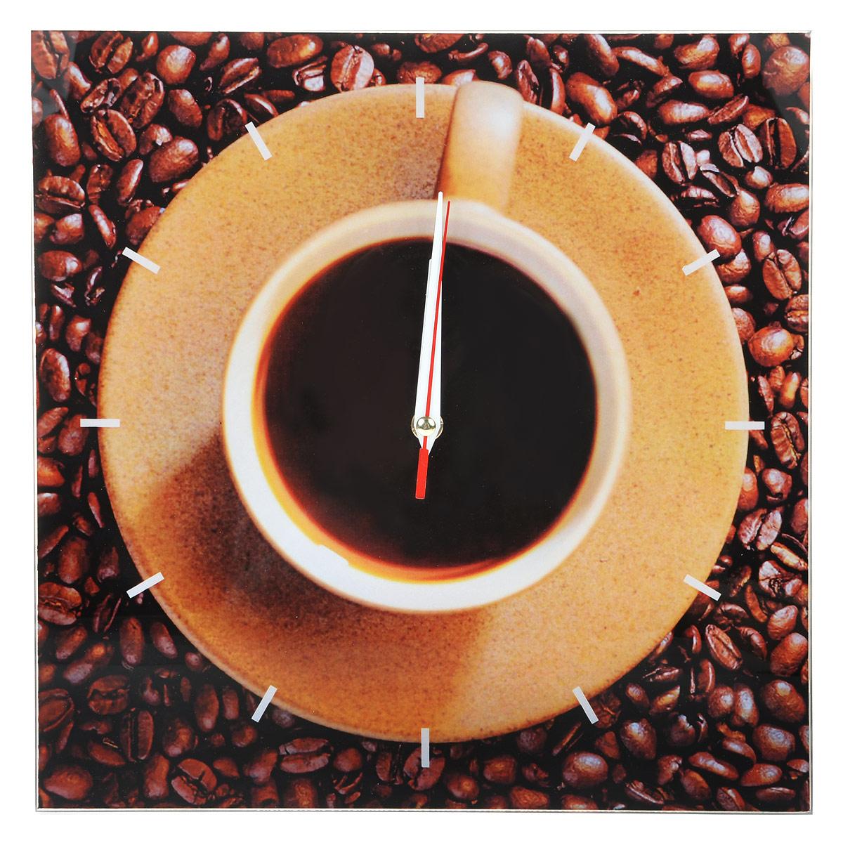 """Часы настенные """"Кофе"""", стеклянные, цвет: коричневый. 95299, Эврика"""