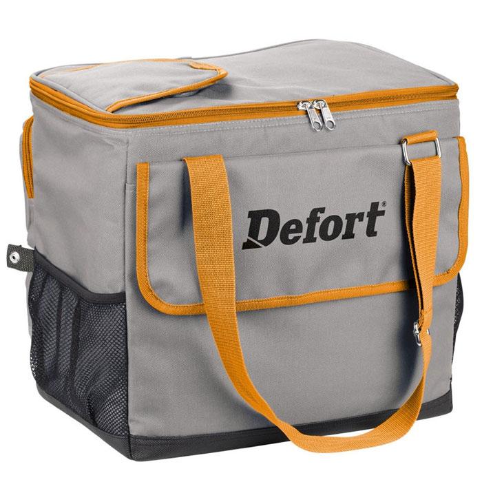 Холодильник автомобильный Defort.DCF-12TF-14AU-12Автомобильную сумку-холодильник стоит приобрести в преддверии весеннее-летнего и дачного периода. С теплой погодой начинаются пикники, выезды на природу, путешествия. После прогулок и активных игр на природе, как обычно, хочется выпить чего-нибудь прохладного. Но магазины и домашний холодильник далеко, что же делать? В этом случае выручит небольшая сумка-холодильник Defort, которая может поддерживать прохладную температуру, работая от автомобильного прикуривателя. Большое количество дополнительных карманов позволяет разместить в сумке не только напитки и еду, но и всегда нужные на пикнике спички, столовые приборы, салфетки. Отдельный клапан для бутылок экономит время и избавляет вас от необходимости открывать всю сумку, бутылку можно достать через клапан и холодный воздух не выйдет из сумки. Длины кабеля 2 метра достаточно даже для размещения холодильника в багажнике. Эту стильную сумку-холодильник не стыдно захватить с собой в парк и на модную пляжную вечеринку, а благодарность гостей за прохладные напитки с лихвой покроет ваши заботы. Объема сумки 24 литра хватит для запаса еды и напитков на большую семью или веселую компанию. Пустую сумку можно сложить, и она не займет много места в багажнике.