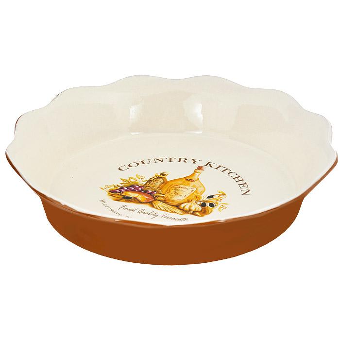 Блюдо для выпечки Terracotta Сардиния, диаметр 26 см94672Блюдо для выпечки Terracotta Сардиния изготовлено из высококачественной керамики бежевого цвета. Внешние стенки - терракотового цвета. Дно изделия оформлено красочным изображением винограда, оливок, маслин, сыра и оливкового масла. Блюдо имеет стенки высотой 5 см, благодаря чему его можно использовать для выпечки и запекания. Стенки изделия волнистые. Можно использовать в СВЧ, духовом шкафу и мыть в посудомоечной машине. Характеристики: Материал: керамика. Цвет: бежевый, терракотовый. Диаметр блюда: 26 см. Высота стенки: 5 см.