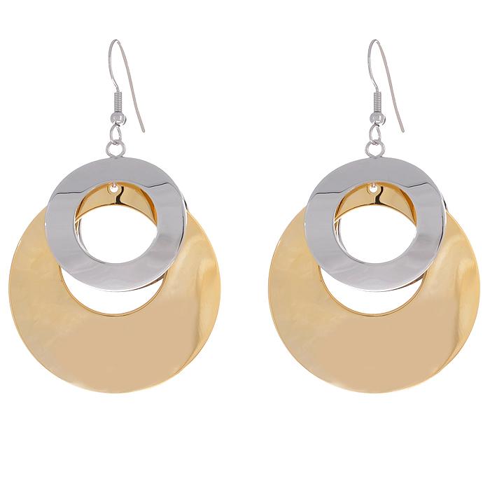 Серьги To Be Queen, цвет: золотистый, серебристый. 06FER070/39Серьги с подвескамиОригинальные серьги To Be Queen круглой формы, выполненные из металла золотистого и серебристого цветов, помогут создать вам свой неповторимый стиль. Пластиковый стоплер обеспечивает надежное крепление серьги. Красивое и необычное украшение блестяще подчеркнет изысканный вкус, женственность и красоту своей обладательницы и поможет внести разнообразие в привычный образ. Характеристики: Материал: металл.Длина серьги: 7 см. Ширина серьги: 4 см.