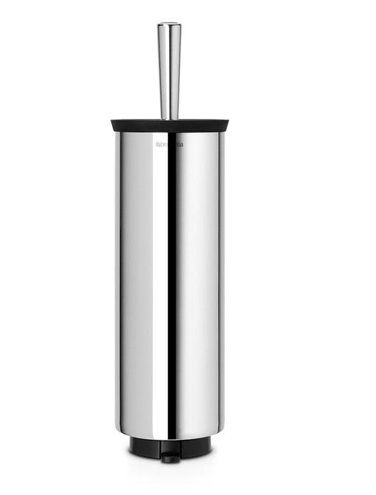 Ершик для туалета Brabantia, с держателем, цвет: стальной12042Туалетный ершик с держателем Brabantia изготовлен из коррозионностойких материалов и подходит для влажных помещений, таких как ванная комната и туалет. Металлический держатель с хромированной поверхностью скрывает ершик. Благодаря наличию съемного внутреннего стакана изделие гигиенично и удобно в очистке. Специальная форма ершика обеспечивает удобную и качественную очистку - идеальная чистота даже под ободом унитаза. Изделие может крепиться к стене с помощью поставляемого в комплекте кронштейна, что облегчает уборку и позволяет экономить место в ванной комнате. Изделие легко снимается с настенного кронштейна для тщательной очистки поверхности стены. Альтернативно изделие можно использовать на полу без крепления на стену – основание с противоскользящими свойствами предотвращает скольжение по плитке.Размер (ВхШхГ): 43 х 11,5 х 12,5 см.
