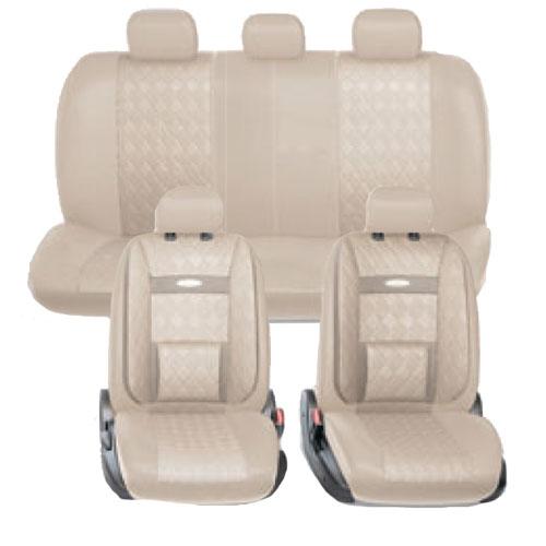 Набор авточехлов Autoprofi Comfort, ортопедическая поддержка, цвет: светло-бежевый, 11 предметов. Размер М. COM-1105GP L.BE/L.BE (M)AC-FC-02В качестве внешнего материала в чехлах Comfort GP применяется 3D полиэстер под кожу и экокожа - материал, приятный на ощупь, практически неотличимый от настоящий кожи, не горючий и легкомоющийся. Широкая гамма расцветок чехлов позволяет подобрать их практически к любому салону автомобиля. Анатомическое авточехлы Comfort имеют встроенный поясничный упор, плечевую и боковую поддержку. Посадка водителя и пассажира с этими чехлами становится естественной и удобной, позволяя с легкостью преодолевать большие расстояния.Основные характеристики: - Карманы в спинках передних сидений - 3 молнии в сиденье заднего ряда- 3 молнии в спинке заднего ряда- Предустановленные крючки на широких резинках- Поддержка плечевого пояса- Ортопедический поясничный упор- Боковая поддержка спины- Толщина поролона: 5 мм Комплектация: - 1 сиденье заднего ряда; - 1 спинка заднего ряда; - 2 спинки переднего ряда; - 2 сиденья переднего ряда; - 5 подголовников.